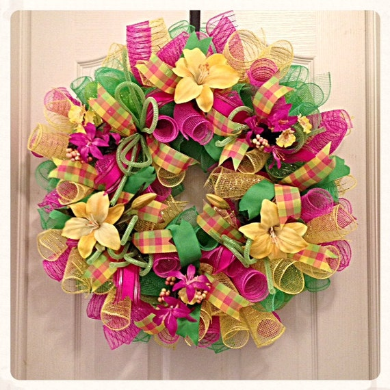 yellow lily deco mesh wreath pink lime and by ckdazzlingdesign. Black Bedroom Furniture Sets. Home Design Ideas