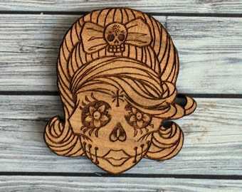 Laser cut wood brooch. QLD Walnut Rockabilly sugar skull.