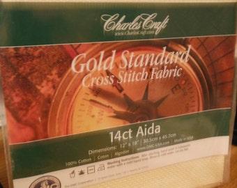 14 Count DMC CHARLES CRAFT Gold Standard Cross Stitch Aida Fabric Ivory 12x18