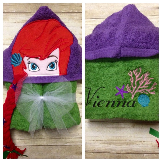 Personalized Ariel Inspired Hooded Towel/ By KidsKuteKreations