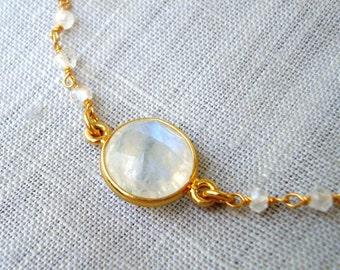 Moonstone Bracelet White Bracelet Gold Bracelet Dainty Bracelet Sterling Silver Gold Plated Rosario Bracelet