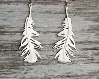 Feather Earrings Silver Feather Dangle Earrings Sterling Silver Statement Earrings Boho Jewelry statement earrings fall jewelry