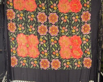 Victorian Densely Embroidered Floral Black Silk Piano Shawl with Fringe
