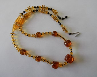 Beautiful Vintage Amber & Black Cut Glass Necklace from Germany