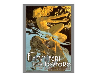 Fiammiferi sensa Fosforo - Vintage 19th Century Art Nouveau Poster/Print