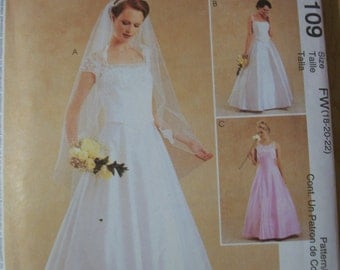 McCall 3109 Misses (Size FW (18-20-22) Bridal Gown and Bridesmaid Dress