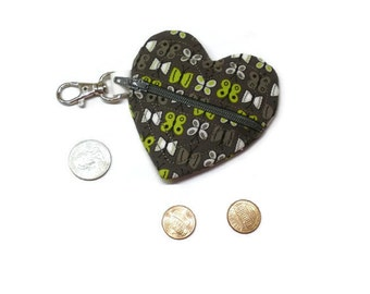 Earbud holder, charcoal heart pouch, zipper earbuds pouch, small coin bag, backpack tag, pouch key chain, stocking stuffer, under 10 gift