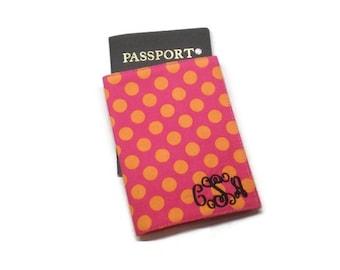 Polka dots passport holder, passport case, passport cover, passport wallet, pink and orange, stocking stuffer, under 10 gift, traveler gift