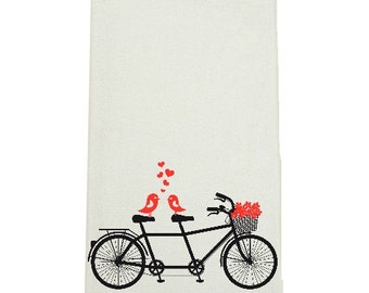 Valentines Day Love Birds on Bike Kitchen Towel, Tea Towel, Flour Sack