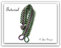 Beading pattern, Bracelet tutorial, SuperDuo beads and seed beads beadweaving tutorial
