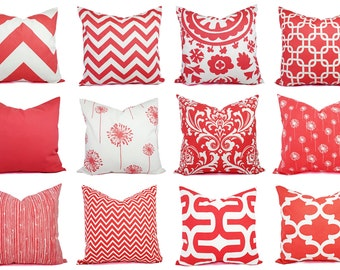 One Coral Decorative Pillow - Coral Pillow Cover - Coral Pillow Sham - Coral Pillowcase - Coral Pillows - Pink Pillows - Accent Pillow