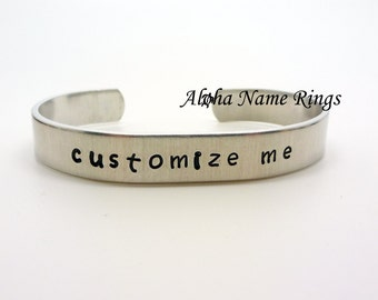 "Custom Hand Stamped Personalized Aluminum Bracelet 3/8"" x 6"" Adjustable and fits most. You tell us what to Stamp!!"