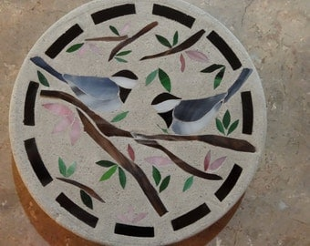 Chickadee Love Birds on a Branch Stained Glass Stepping Stone