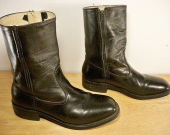 Vintage Work N' Sport Made in USA Black Leather Soft Toe Motorcycle Pull On Biker Men's Boots Size 8.5