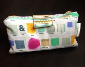 Two Zip Pouch - Low Volume Paint Chips, Makeup Bag, Zipper Pouc