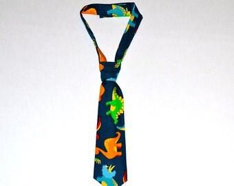 Boy's Dinosaur Necktie with Velcro Closure - Sizes 0-12 months thru Size 5.