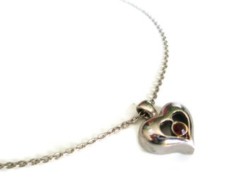 Vintage Silvertone Red Rhinestone Heart Pendant Necklace