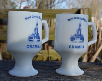 Milk glass Disneyland  souvenir mugs for Gramma amd Grampa
