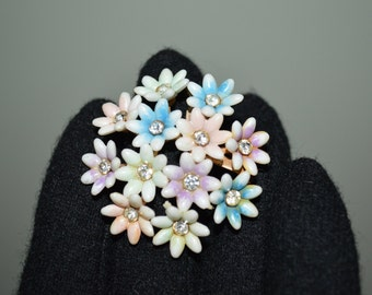 Vintage Plastic and Rhinestone Brooch from the Fifties
