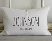 Personalized Name & Date 16 x 26 Pillow Cover_wedding, housewarming, home decor, cushion, throw pillow, gift, present.