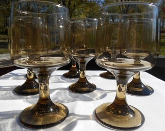 Libbey Rock Sharpe Glassware Tawny Accent Smoke Brown Wine Glasses Pedestal Stemware Vintage Glassware Retro Barware Set Of Eight 3DsVintage