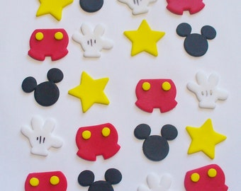 12 MINI MICKEY Hands Shorts Ears Stars Edible Fondant Silhouette Cupcake Cake Toppers