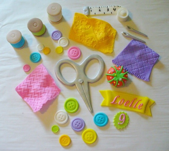 Edible Themed Cake Decoration : 3D SEWING Theme Edible Fondant Cake Decorations