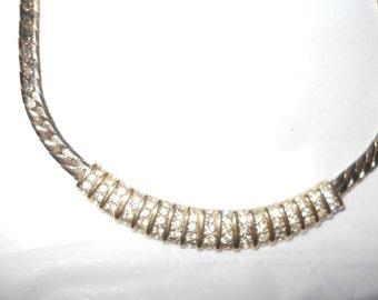 PANETTA Necklace Golden Herringbone Clear Rhinestones Signed