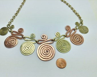 Necklace made of copper and bronze spirals ' 7 Lives'