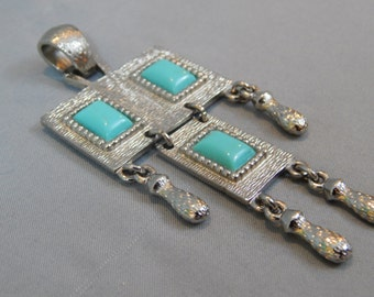 Vintage Folklore Geometric Pendant by Sarah Coventry, Signed - Silver Tone, Faux Turquoise, Circa Early 1970s