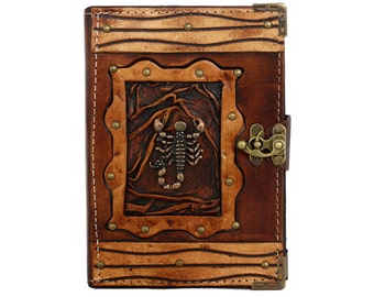 Scorpion Pendant On A Brown Leather Journal / Notebook / Diary / Sketchbook / Leatherbound
