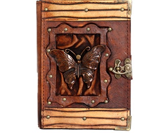Butterfly Pendant On A Brown Leather Journal / Notebook / Diary / Sketchbook / Leatherbound