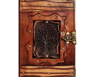 Tree of Life Pendant On A Brown Leather Journal / Notebook / Diary / Sketchbook / Leatherbound