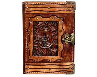 Pirate Anchor Pendant On A Brown Leather Journal / Notebook / Diary / Sketchbook / Leatherbound
