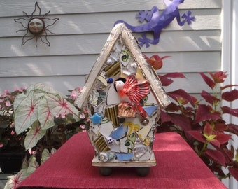 Colorful Mosaic Birdhouse with Red Bird