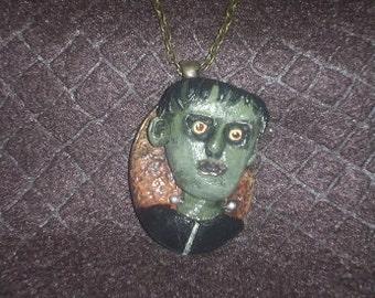 Frankenstein's Monster Cameo polymer clay pendant