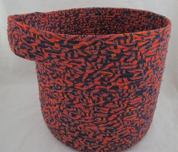 Handmade Cotton Baskets : Handmade blue and orange cotton fabric by njbbasketofjewels