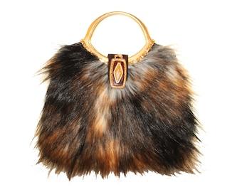 Brown Faux fur Vintage Purse
