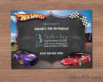 Hotwheels Birthday Invitation Digital Download