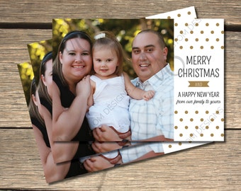 Dotted Merry Christmas Holiday Photo Card- 5x7