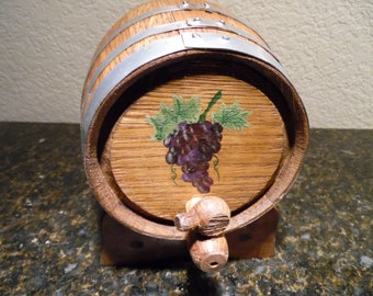 Hand Painted, Two Liter Oak Wine Barrel with Spigot and Stand, Home Brewing Wine, Spirits and Vinegar,