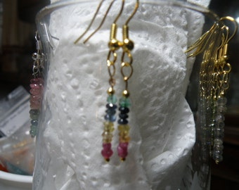 Ruby, Citrine, Sapphire and Emerald Earrings
