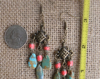 Hubei Turquoise and Red Czech Glass Dangle Earrings