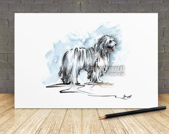 Dog, dog art, Mop Dog, dog watercolor, dog portrait, dog art, dog paintings, komondor, white dog, big dog