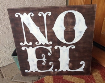 Vintage Distressed NOEL Wood Sign