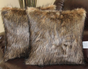 Faux Fur Wolf Brown Black Pillow Cover 18 x 18 in - Set of 2