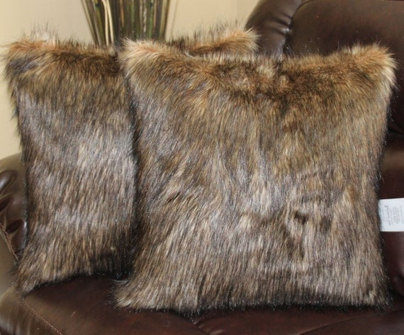 Black Fur Throw Pillows : Faux Fur Wolf Brown Black Pillow Cover 18 x 18 in Set of 2