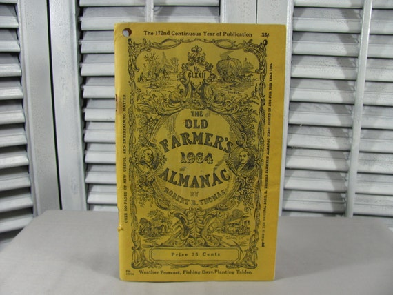 1964 The Old Farmer's Almanac by Robert Thomas No. 172 (CLXXII), Vintage Book Yellow, Weather Forecast, Fishing Days, Planting Tables