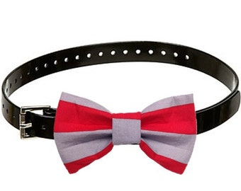 Scarlet & Gray Ohio State Dog Bow Tie XS Small Medium Large Collar Accessory Football Stripe Woofy Hayes