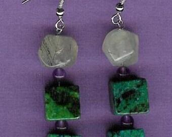 Earrings - Reconstituted Chrysocolla, Prehnite, Amethyst, Sterling Silver